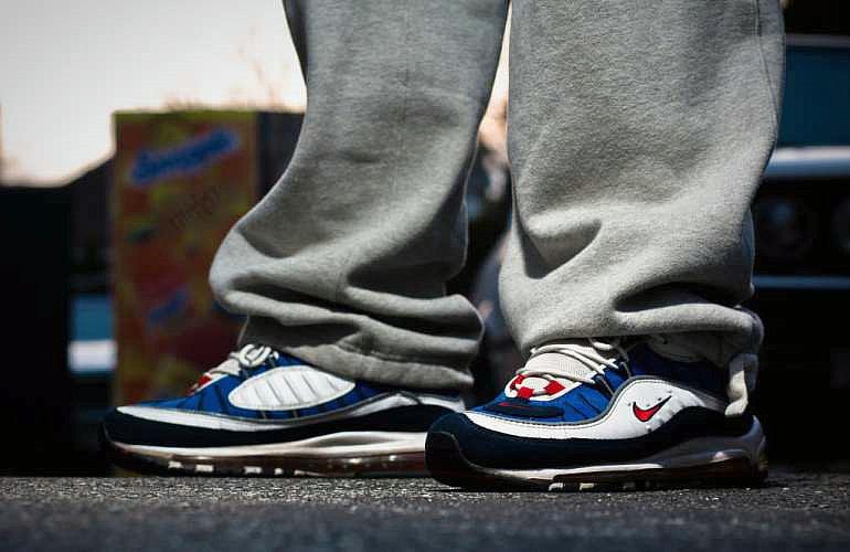 b20a947e7ec6ed7f9461773ef48d7627 - Nike Air Max 98 復古 氣墊 百搭 慢跑鞋 男鞋 深藍寶 藍白紅 640744-064