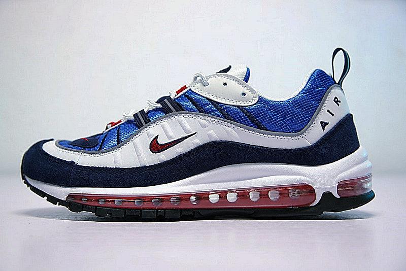 e33dd73af3366199922fe8ff6f09857f - Nike Air Max 98 復古 氣墊 百搭 慢跑鞋 男鞋 深藍寶 藍白紅 640744-064