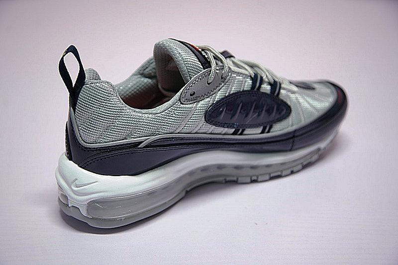 e5296dc95e5fa932bb5320bf154efef8 - Supreme x NikeLab Air Max 98 復古氣墊百搭慢跑鞋 海軍藍灰 844694-400 男鞋