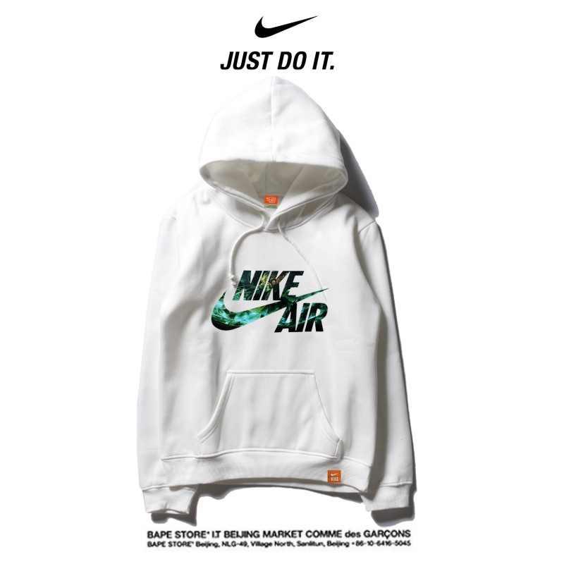 Nike 2018春秋薄款 衛衣 寬鬆 長袖 套頭 情侶款 白色 碎花字勾