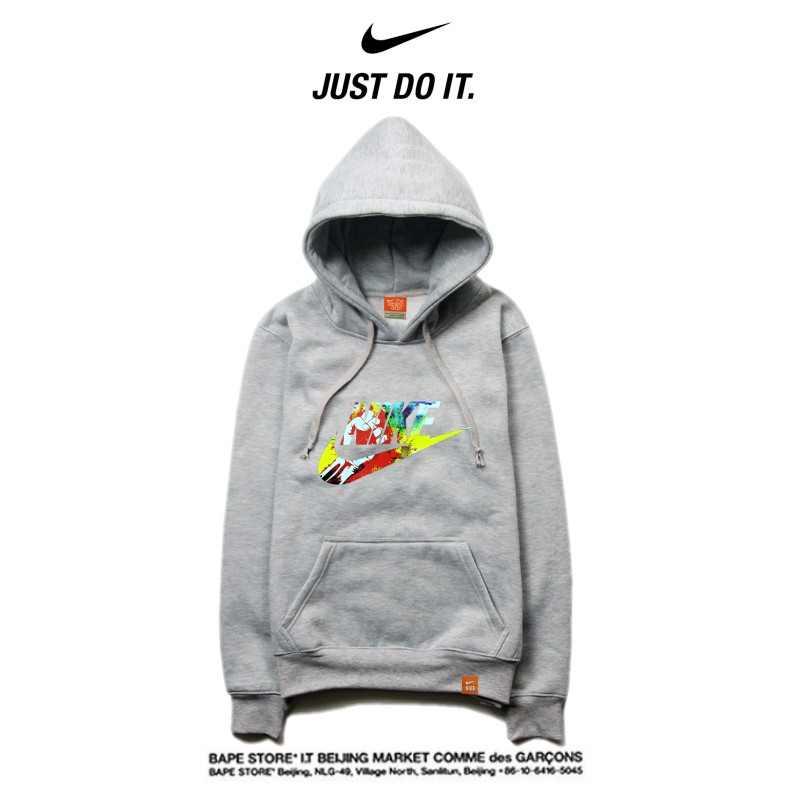 Nike 薄款 衛衣 寬鬆 長袖 套頭 情侶款 灰色 彩色字勾