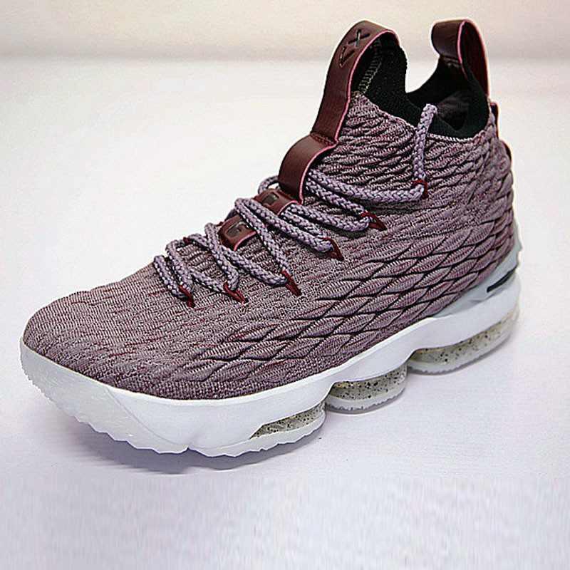 Nike LeBron 15詹姆斯·勒布朗全新戰靴室內針織中筒籃球鞋系列 淺紫酒紅白潑墨底 897649-201