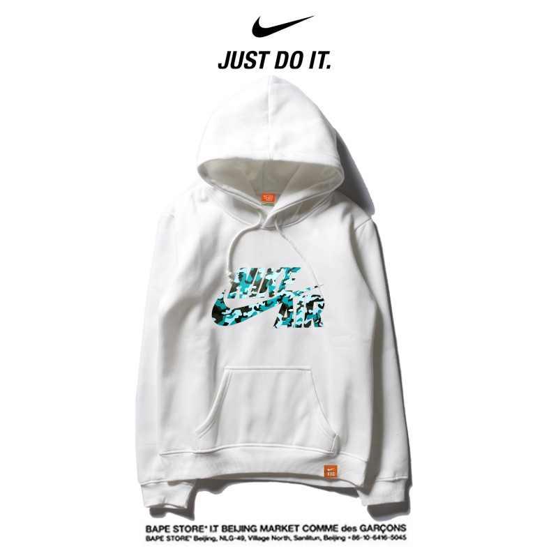 Nike 薄款 衛衣 休閒 長袖 套頭 情侶款 白色 碎花logo