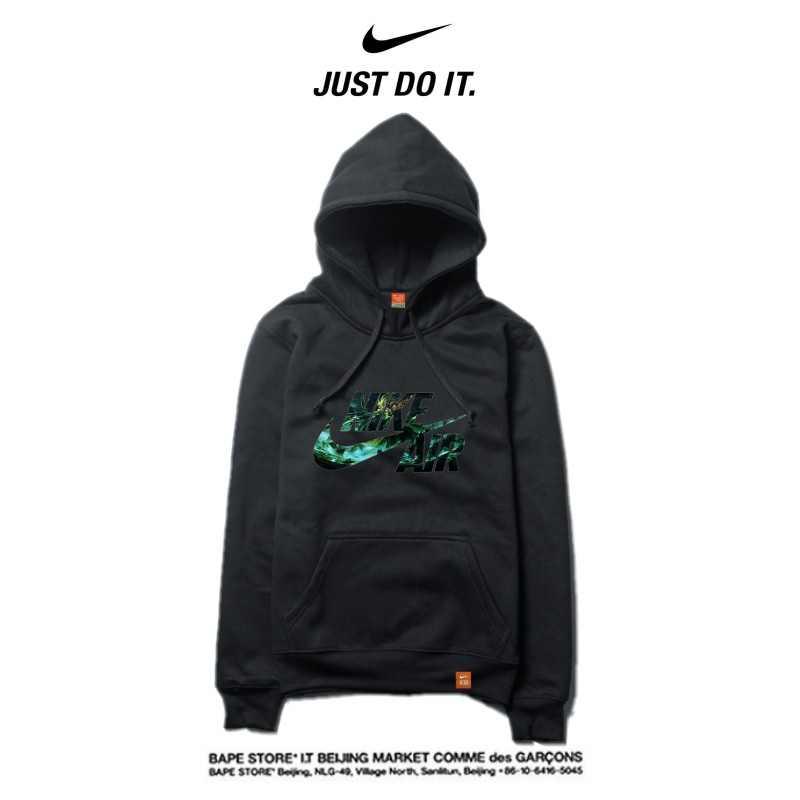 Nike 2018春秋薄款 衛衣 寬鬆 長袖 套頭 情侶款 黑色 碎花logo