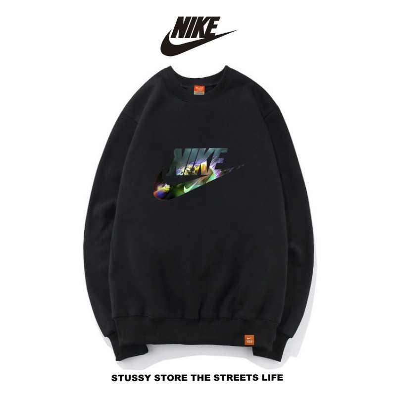 Nike男女款 百搭長袖 純棉 薄款 春秋 時尚大學t 衛衣基本款 黑色
