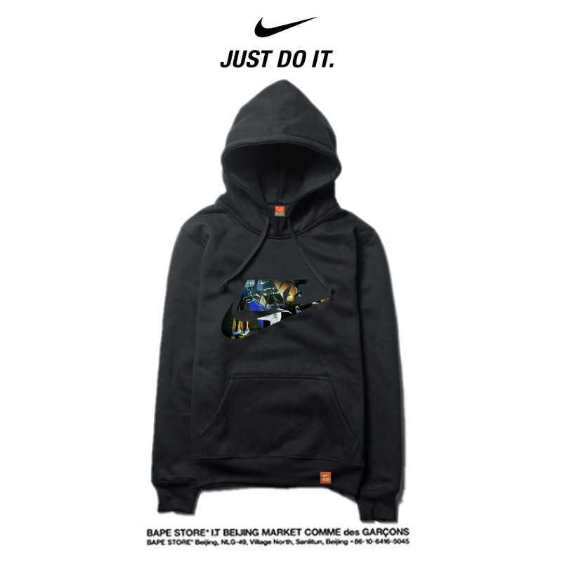 Nike 2018春秋薄款 時尚衛衣 寬鬆 長袖 套頭 情侶款 黑色