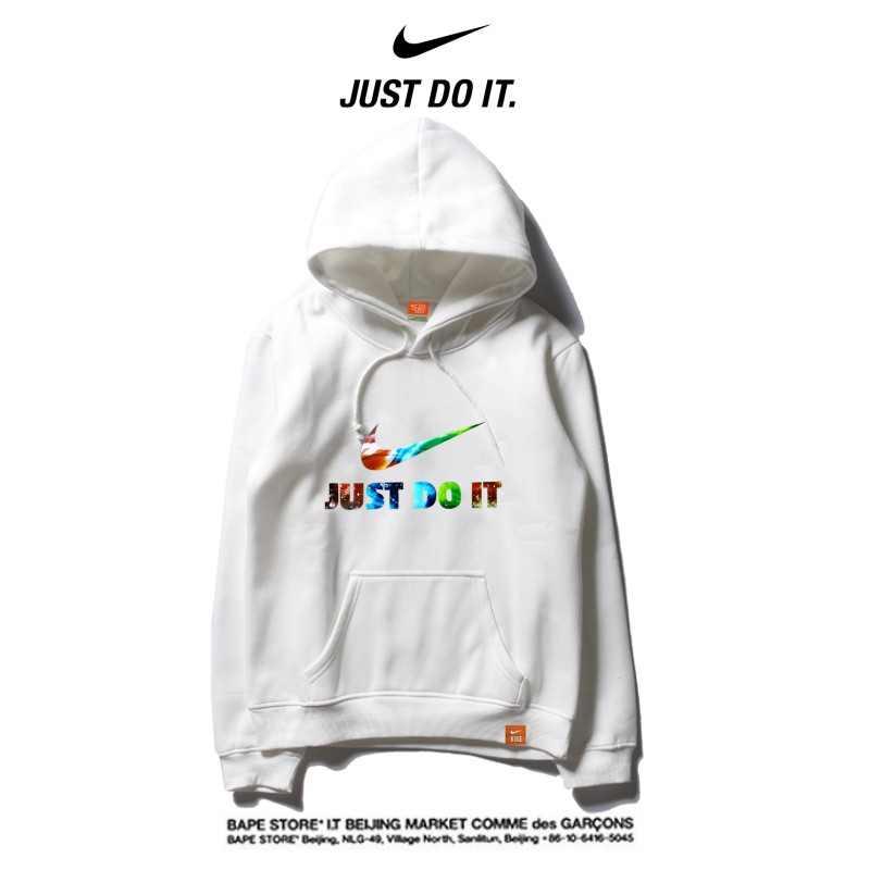 Nike 薄款 百搭帽t 寬鬆 長袖 套頭 休閒衛衣 情侶款 純白