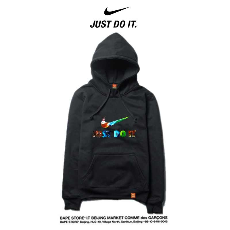 Nike 薄款 帽T 寬鬆 長袖 套頭 衛衣 情侶款 黑色