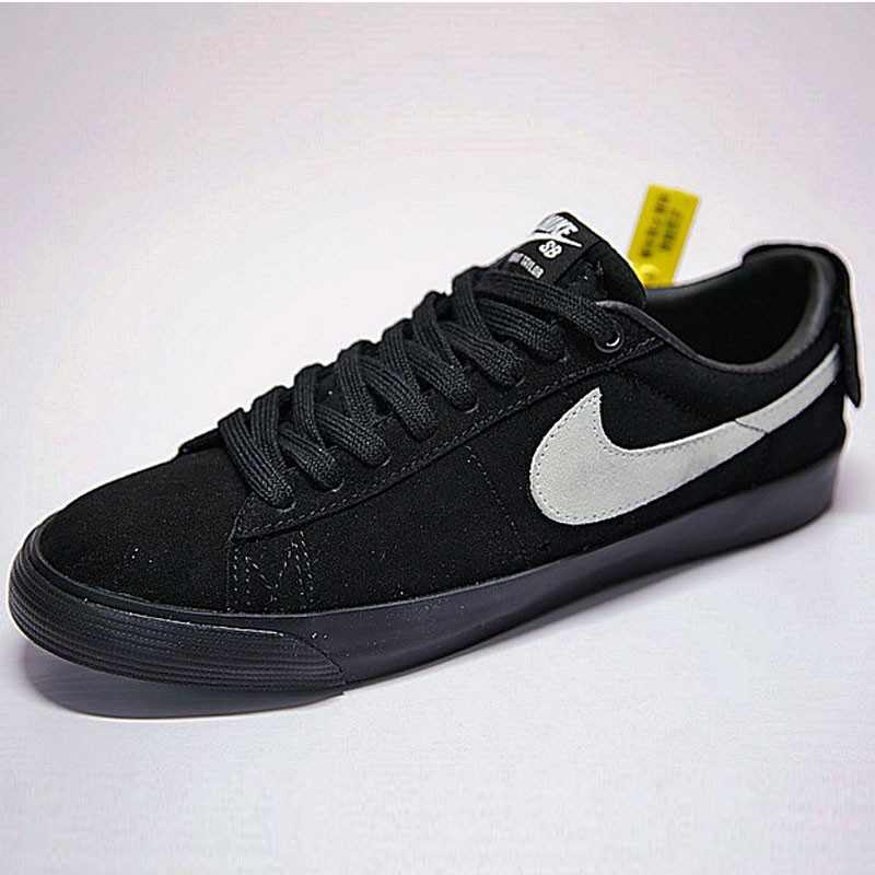 情侶鞋Nike SB Blazer Low GT經典開拓者板鞋 全黑白勾後跟魔術貼 943849-010