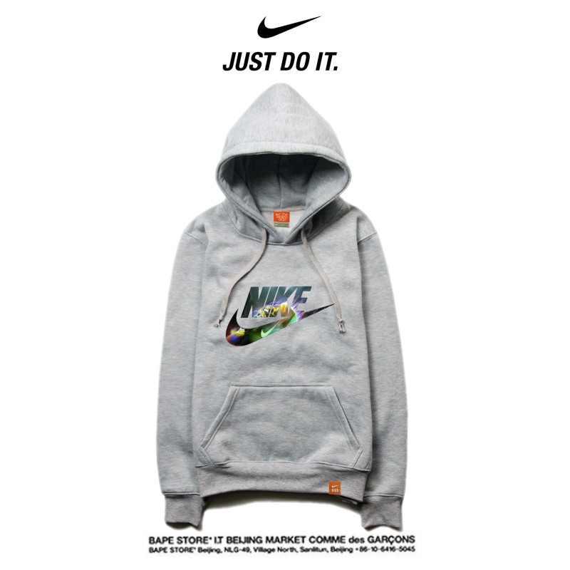 Nike 薄款 衛衣 寬鬆 長袖 套頭 情侶款 灰色 閃電字勾