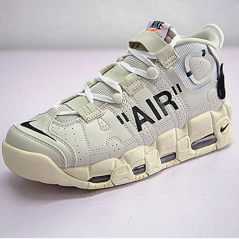 Off-White x Nike Air More UptempoOW奶油黃白黑橘 情侶鞋 902290-012-
