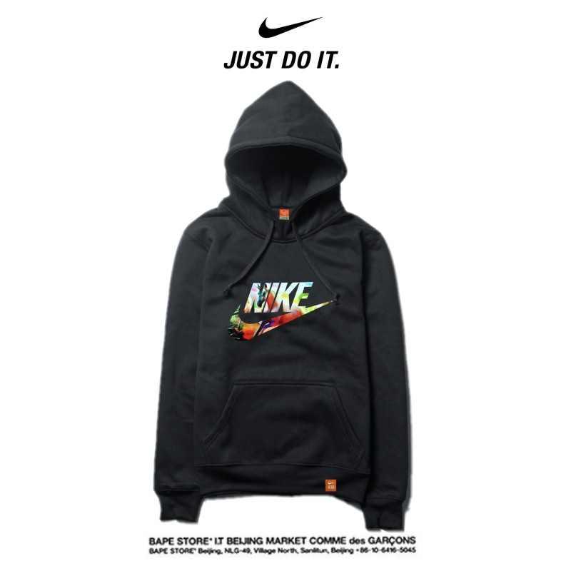 Nike 薄款 衛衣 寬鬆 長袖 套頭 情侶款 黑色 經典字勾