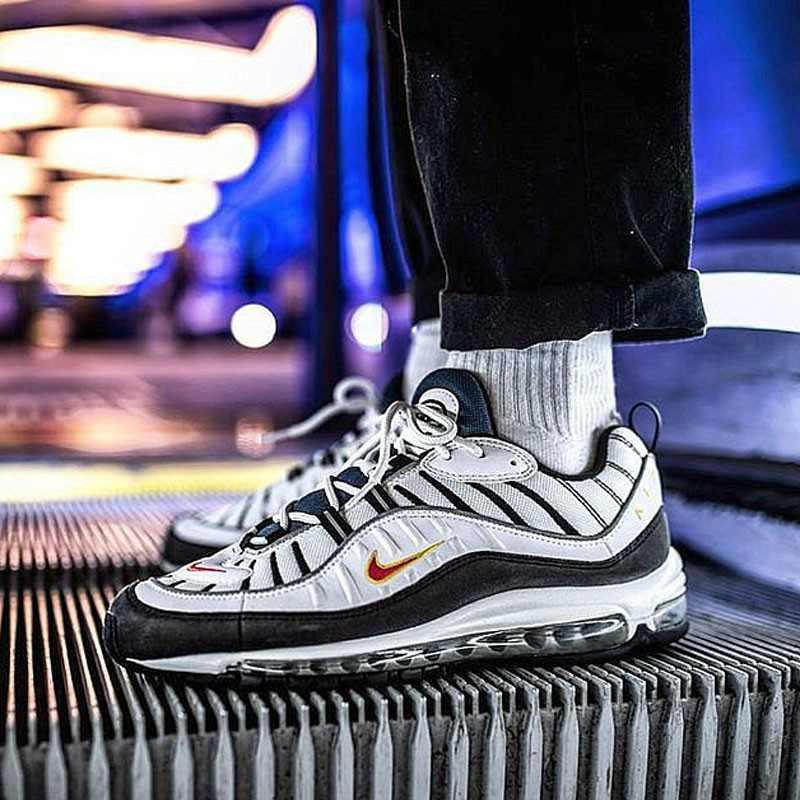 男鞋 Nike Air Max 98 復古 氣墊 百搭 慢跑鞋 男生 深藍白黃 640744-004