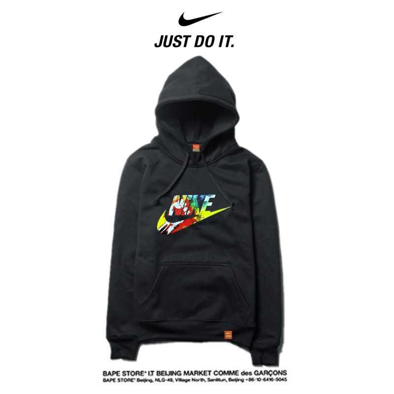 Nike 薄款 衛衣 寬鬆 長袖 套頭 衛衣 情侶款 黑色