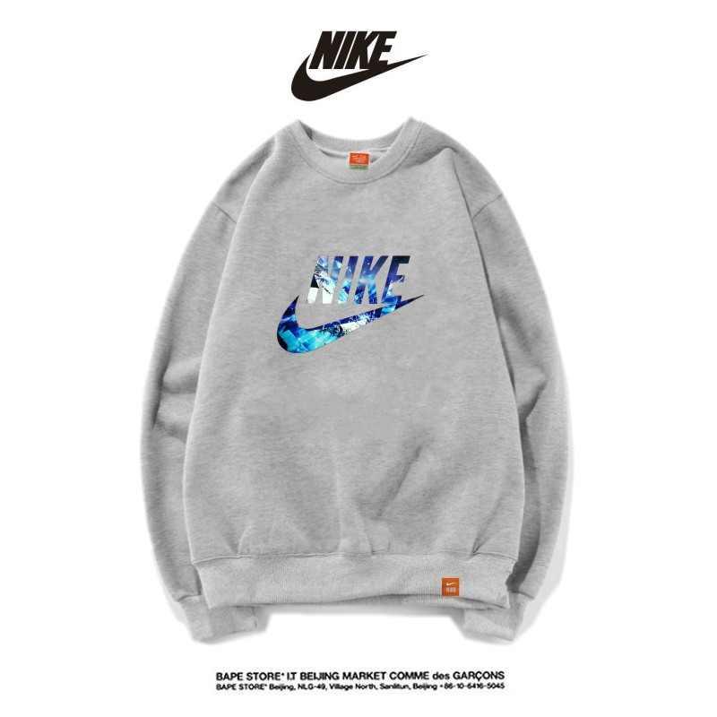 Nike男女款 百搭長袖 純棉 薄款 春秋 時尚大學t 經典衛衣 灰藍