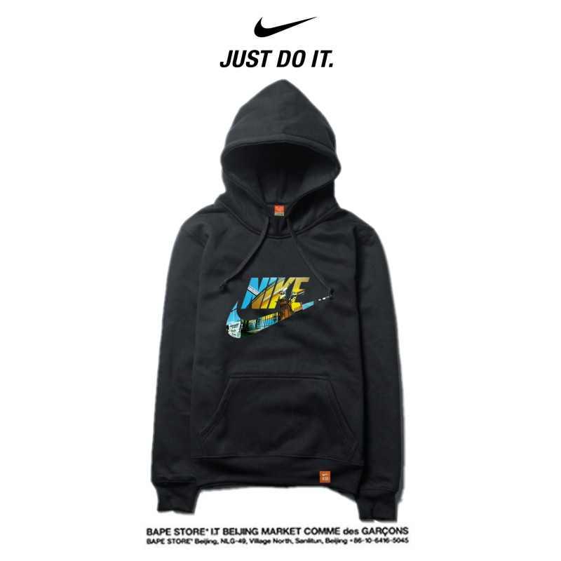 Nike 薄款 潮搭 衛衣 寬鬆 長袖 套頭 情侶款 黑色