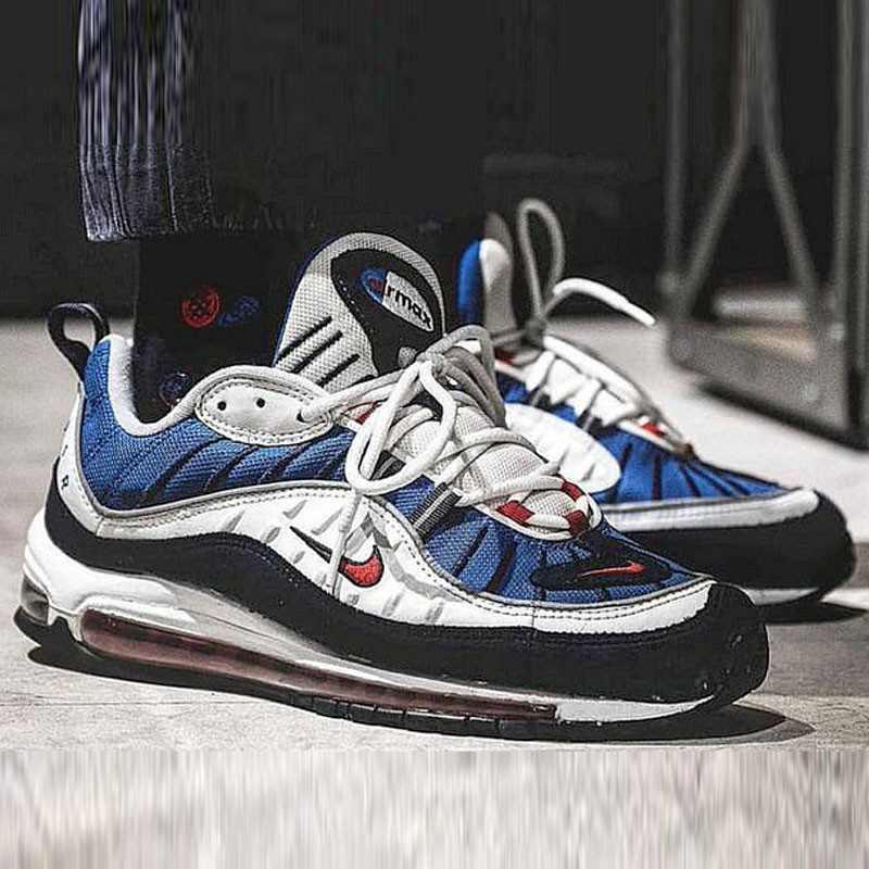 Nike Air Max 98 復古 氣墊 百搭 慢跑鞋 男鞋 深藍寶 藍白紅 640744-064