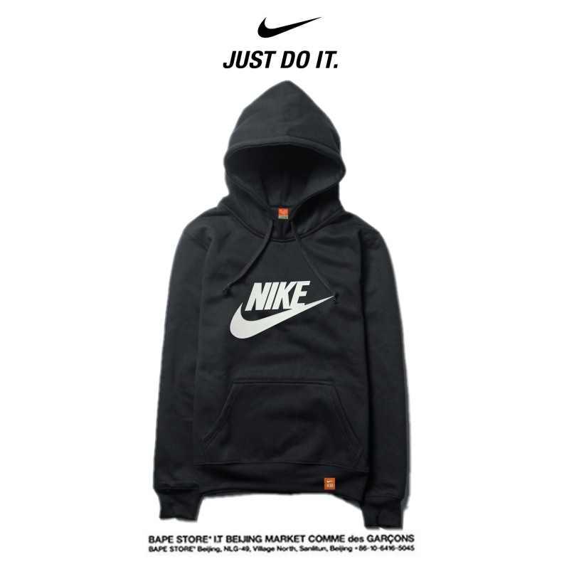 Nike 2018春秋薄款 休閒衛衣 寬鬆 長袖 套頭 情侶款 黑白