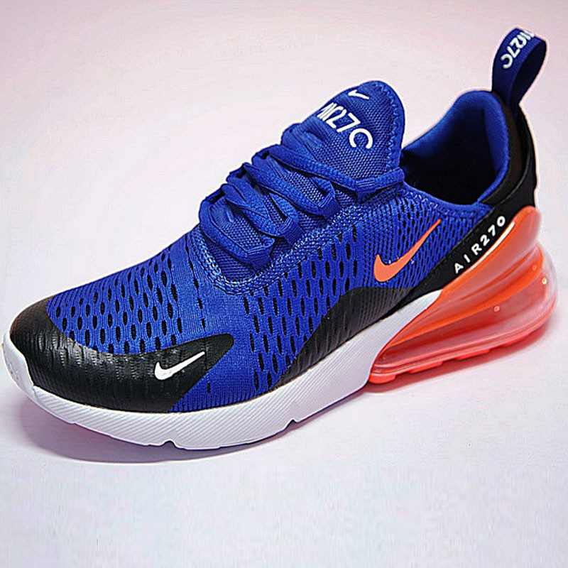 男女鞋Nike Air Max 270系列後跟半掌氣墊慢跑鞋  寶藍黑橘底 AH8050-460