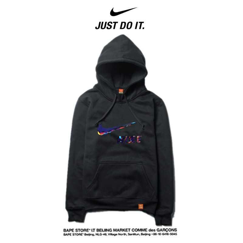 Nike 薄款 衛衣 寬鬆 長袖 套頭 情侶款 黑色 藝術字勾