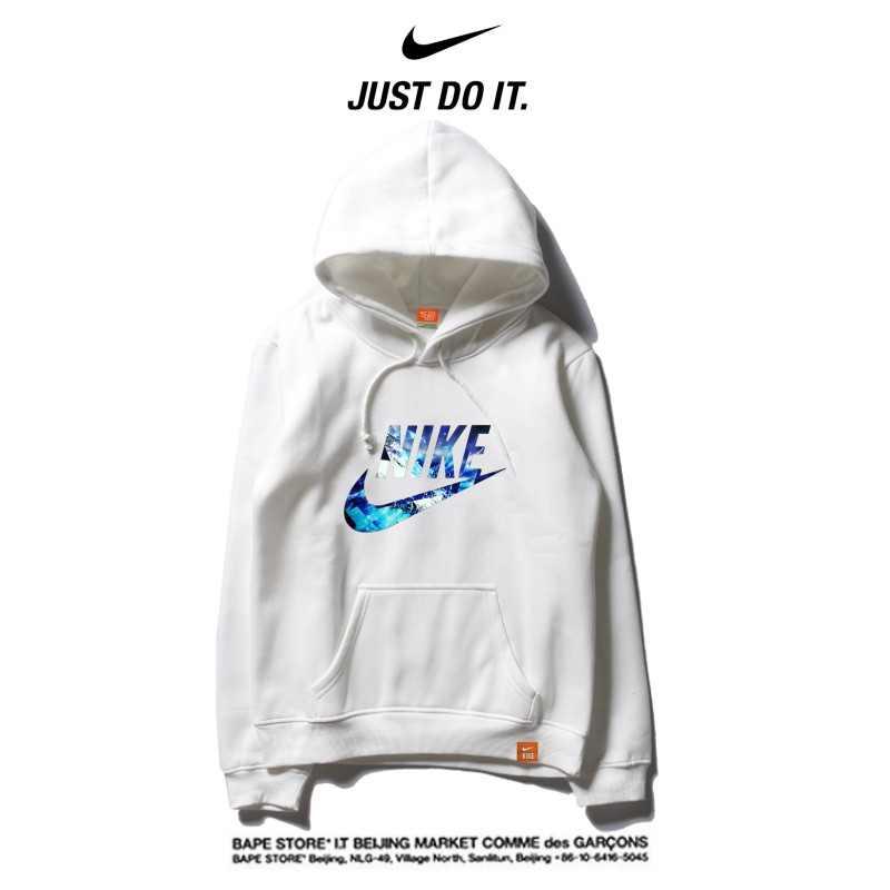 Nike 薄款 百搭帽T 寬鬆 長袖 套頭 衛衣 情侶款 白藍