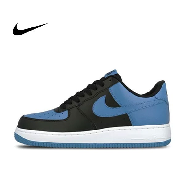 NIKE Air Force 1 AF1 黑藍 Royal Blue 情侶鞋 皮革820266-010
