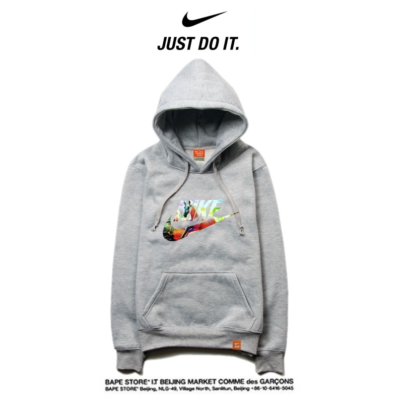 Nike 薄款 衛衣 寬鬆 長袖 套頭 情侶款 灰色 碎花字勾