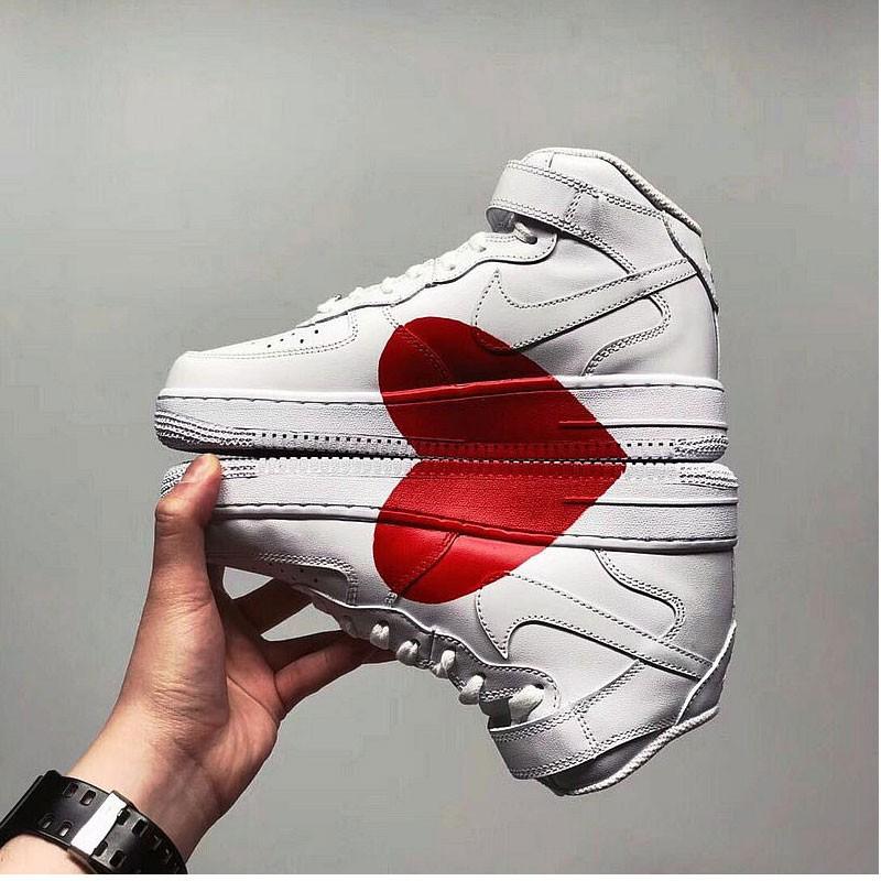 NIKE AIR FORCE 1空軍 高筒 愛心 板鞋 情侶鞋