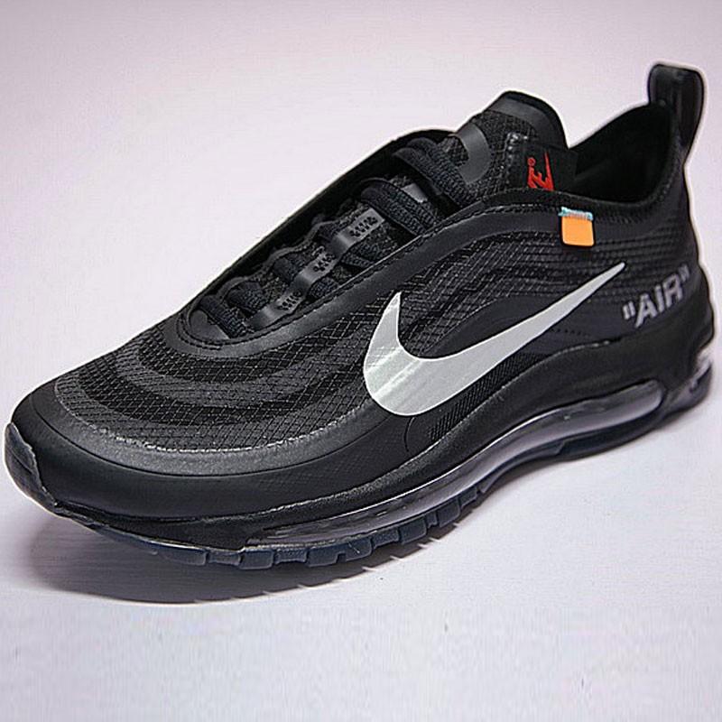 virgil abloh設計師品牌 OFF white x Nike Air Max 97系列百搭復古氣墊慢跑鞋 黑銀 情侶 AJ4585-001 男女鞋