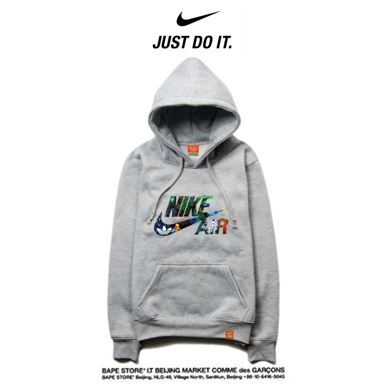 Nike 薄款 Air衛衣 寬鬆 長袖 套頭 情侶款 灰色 碎花字勾