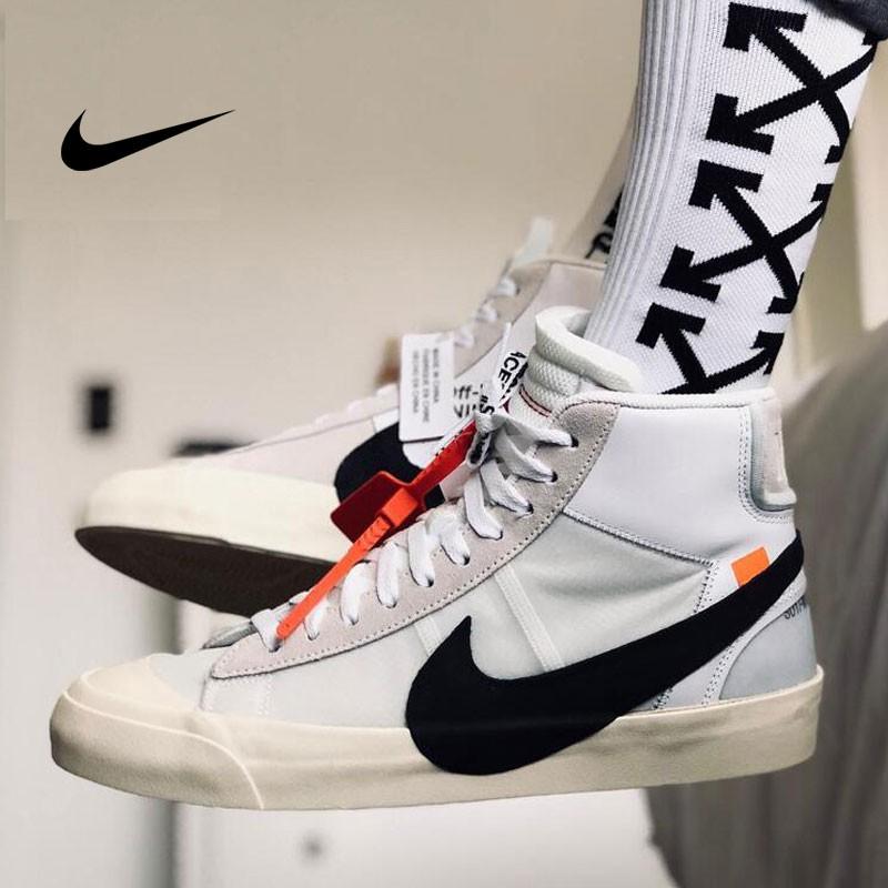 Virgil Abloh設計師獨立品牌聯名 OFF-White x Nike Blazer Mid 開拓者中筒板鞋 米白黑勾 男鞋 AA3832-100 -