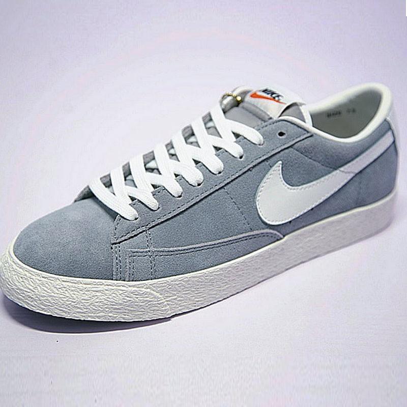 男女鞋Nike Blazer Low 經典校園開拓者板鞋 復古淺灰白 488060-010