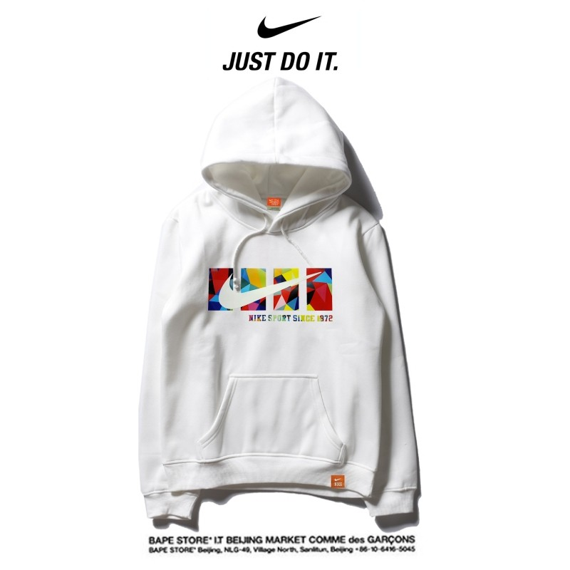 Nike 2018春秋薄款 衛衣 寬鬆 長袖 套頭 情侶款 白色 創意logo