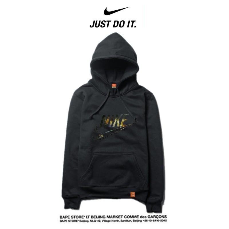Nike 2018春秋薄款 黑色衛衣 寬鬆 長袖 套頭 情侶款