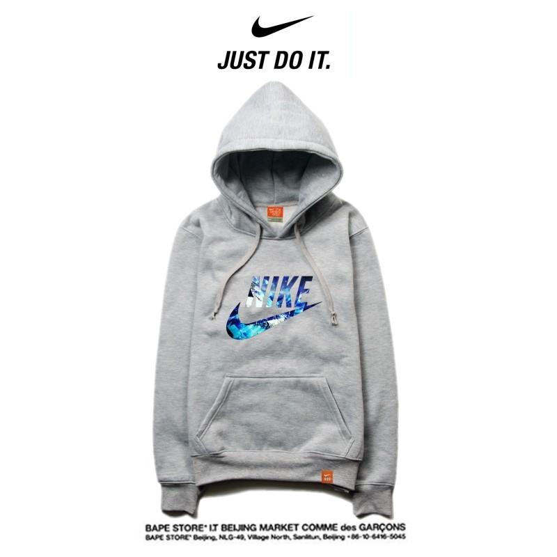 Nike 2018春秋薄款 潮流衛衣 寬鬆 長袖 套頭 情侶款 灰藍