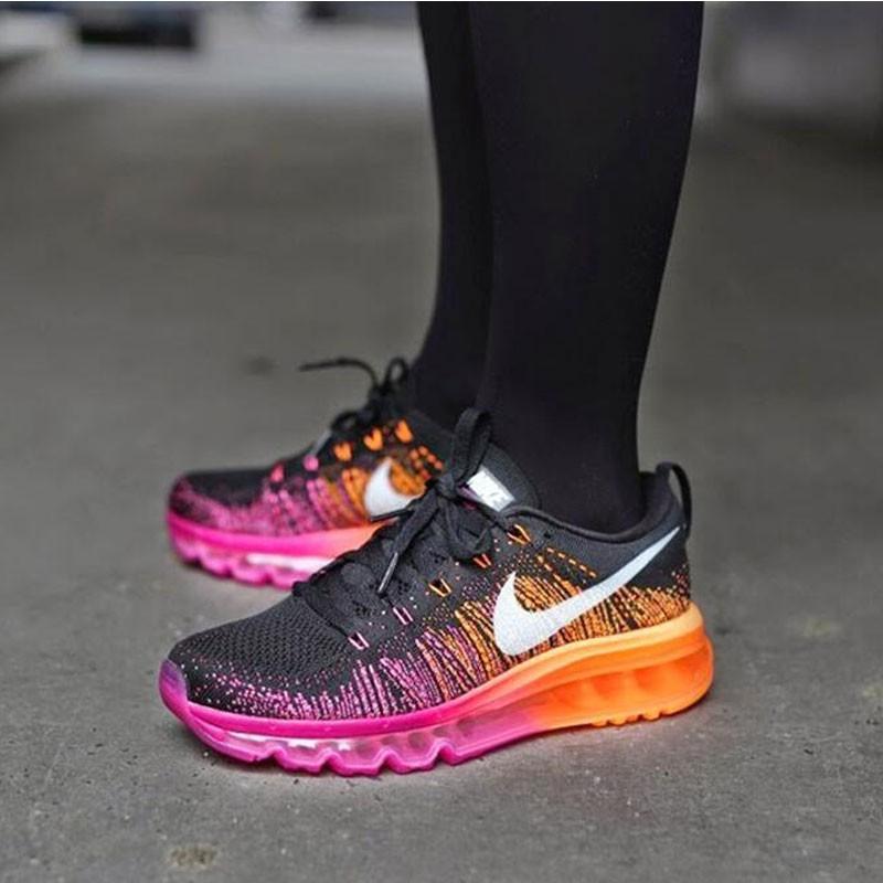 Nike Flyknit Max 飛線 氣墊 女鞋 黑粉紅