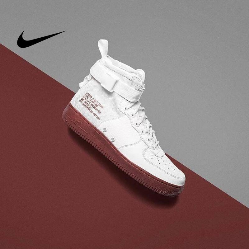 NIKE SF AIR FORCE 1 MID HAZEL皮革籃球鞋(白磚紅) 男鞋 917753-100