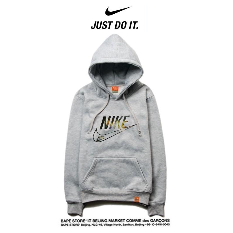 Nike 薄款 衛衣 寬鬆 長袖 套頭 情侶款 灰色 簡約字勾