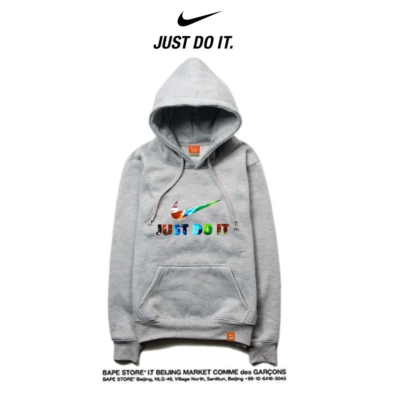 Nike 薄款 寬鬆 長袖 連帽衛衣 套頭 休閒 帽t 情侶款 灰色