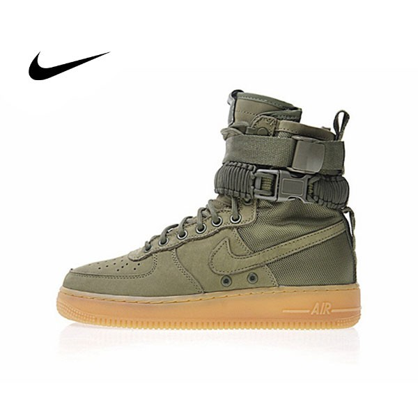 "Nike Special Forces Air Force 1 空軍一號機能高街特種部隊系列高筒鞋""橄欖綠棕""情侣859202-339"