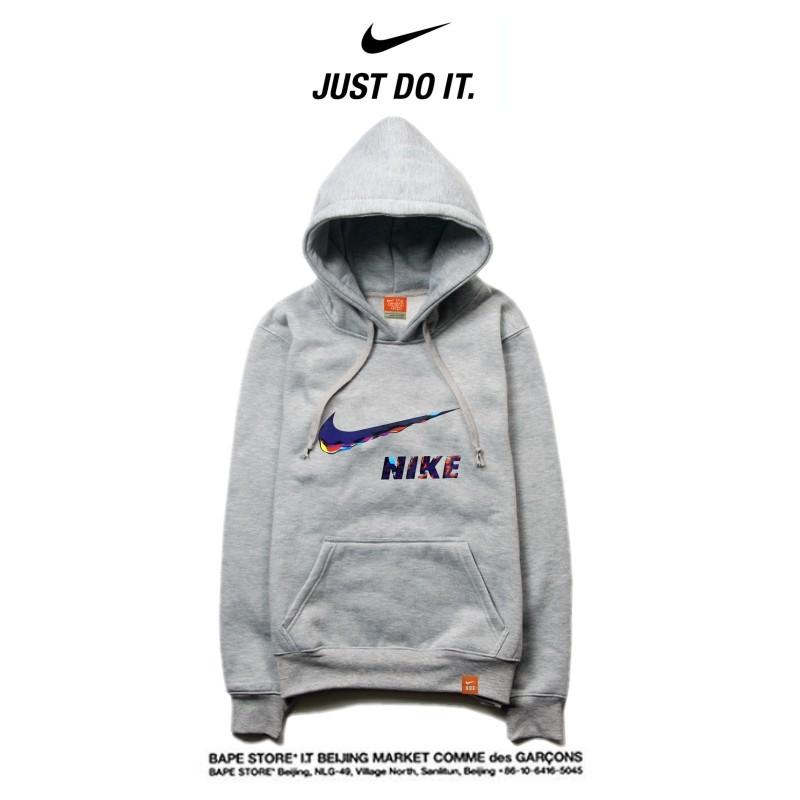Nike 春秋薄款 衛衣 寬鬆 長袖 套頭 情侶款 藝術字勾