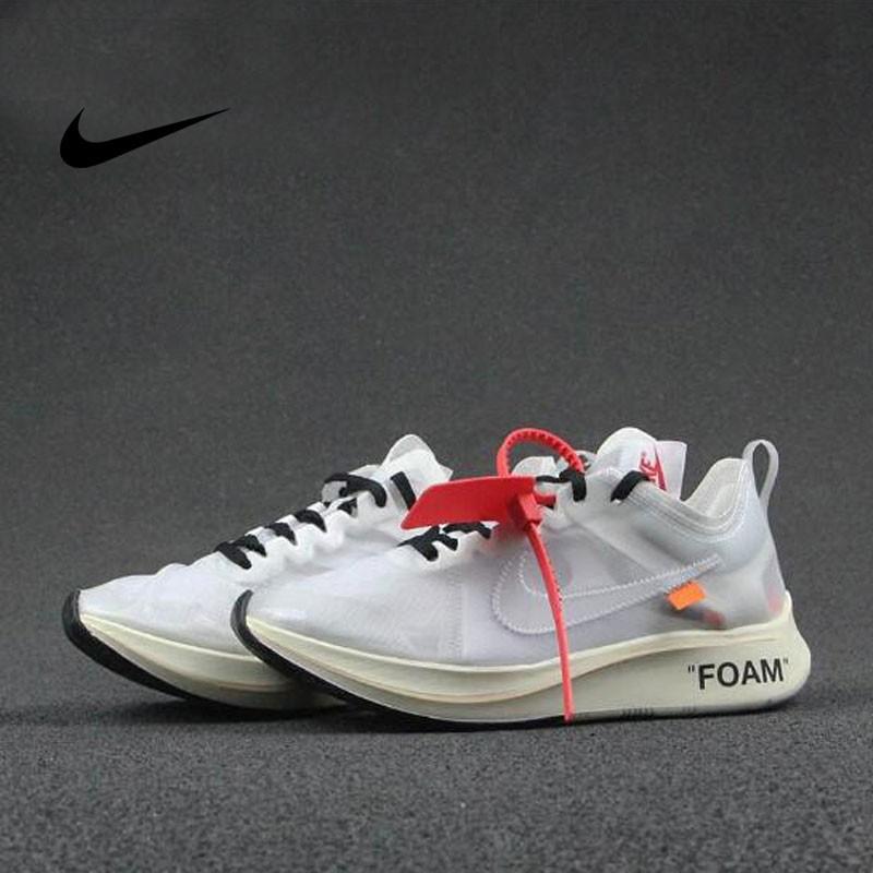 Virgil Abloh設計師獨立品牌超級限量 Off White x Nike Zoom Fly輕量緩震慢跑鞋 OW透明網米白 AJ4588-100