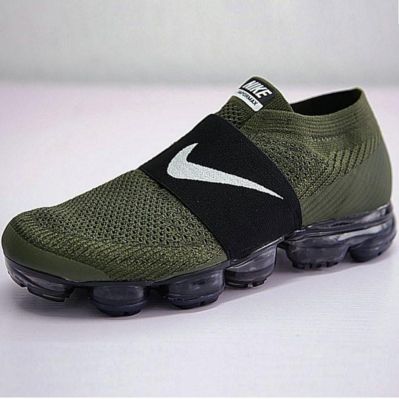 男女鞋Nike Air VaporMax Laceless 2018無系帶套腳系列蒸汽大氣墊跑鞋 軍綠黑白勾 883275-300