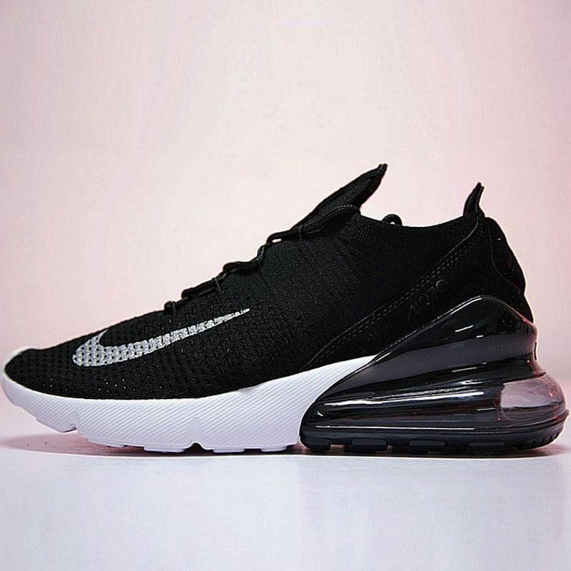 男女鞋 Nike Air 270 Flyknit 飛織版後跟半掌氣墊慢跑鞋 黑白銀勾 AH6803-001