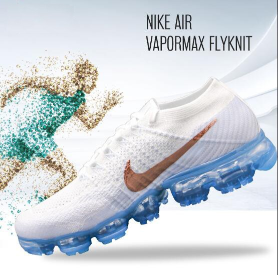 Nike VaporMax Flyknit 849557-104 液態銅Swoosh 白編織 藍底 男女鞋