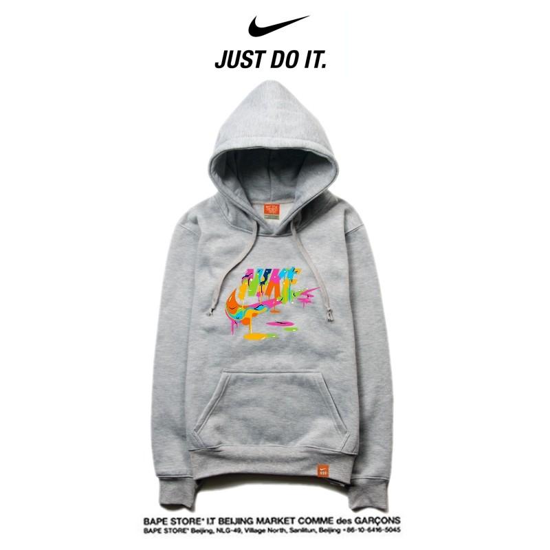 Nike 薄款 時尚 長袖 連帽衛衣 套頭 休閒 情侶款 灰色 藝術logo