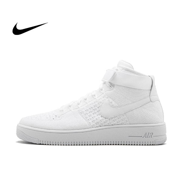 NIKE AIR FORCE 1 ULTRA FLYKNIT MID編織籃球鞋(全白)817420-100 情侶鞋