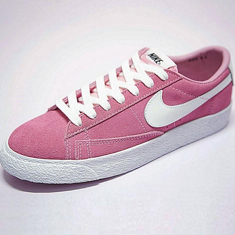 女鞋Nike Blazer Low 經典校園開拓者板鞋 復古冰泣淋粉白 488060-081