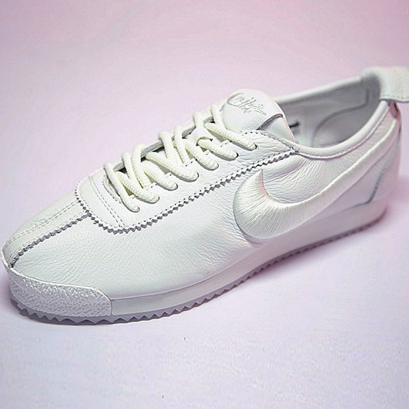 Nike Cortez 阿甘 全白 皮 情侶鞋 881205-100