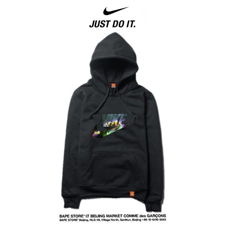 Nike 2018春秋薄款 衛衣 寬鬆 長袖 套頭 情侶款 黑色 印花logo